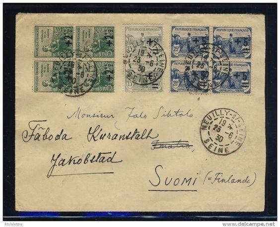 VENTE FLASH Lot B_045 - 1930 - 4x N°163, 2x N°164 & 4x N°165 ORPHELINS SUR LSC DE NEUILLY POUR LA FINLANDE