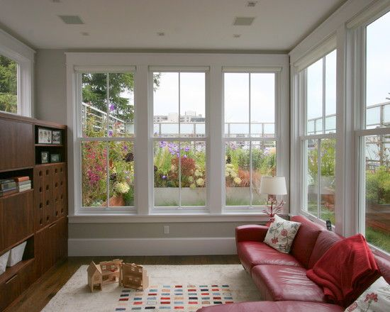 height of the windows in the sunroom Large single mullion window