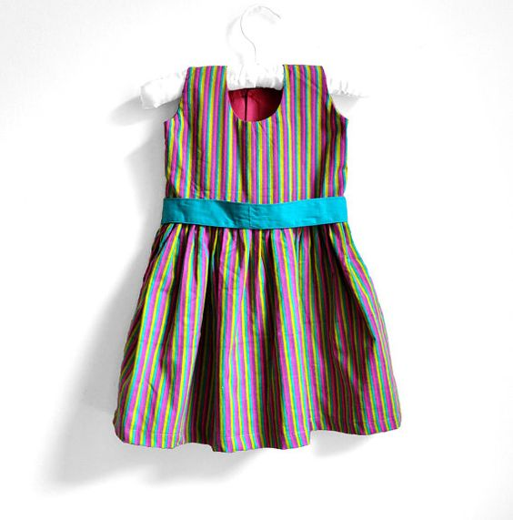 Baby Dress  Size  3T  Aqua Blue with Purple and by PaisleyMagic, $31.99