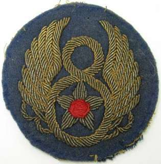 US Army 8th Air Force Bullion Patch WW2: