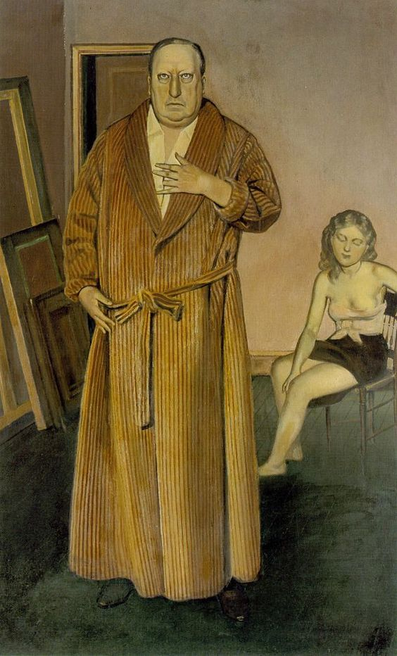 Balthus' Portrait of André Derain is a good example of how the figure of one artist is often based on an earlier one. In this case Balthus fused Derain's face with that of Poussin, the painter of 17th cent. France. This is not surprising because Poussin was one of Balthus' heroes. Balthus, born in France, identified with the French master so, in giving Poussin's features to Derain, Derain becomes an alter ego of Balthus.