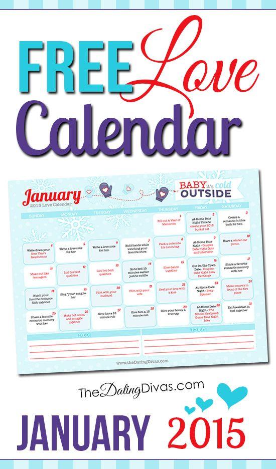 Every Year Calendar : Free printable january love calendar