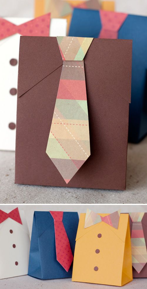 DIY Father's Day Shirt & Tie Gift Boxes downloadable template