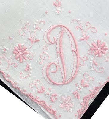 Antique Style: Hanky with my initial via Hanky Panky | Pinterest)