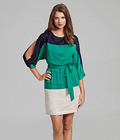 Dress for Beth's wedding yes please...Jessica Howard Cold-Shoulder Colorblock Dress | Dillards.com