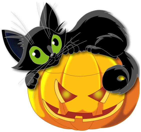 Clip Art Halloween Cat Clipart large transparent halloween pumpkin with black cat clipart clipart
