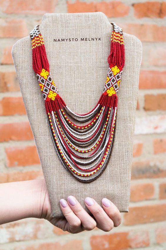 Burgundy boho necklace Short ethnic statement necklace | Etsy