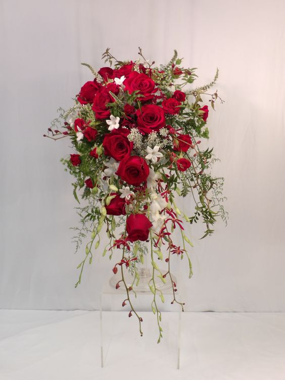 Red wedding flowers, red cascade bridal bouquet, wild flower wedding, cascade bouquet. red and white wedding