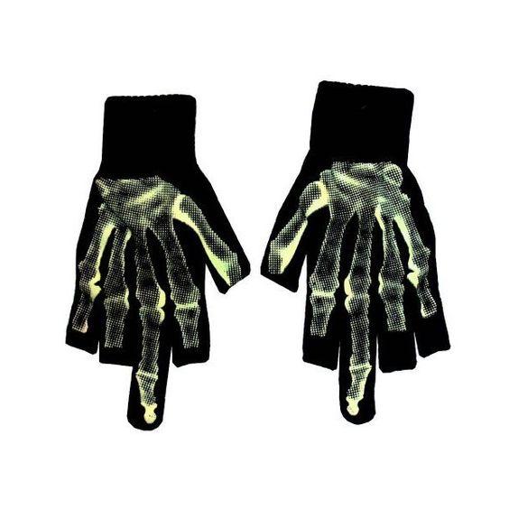 Skeletal Middle Finger Skeleton Glow In The Dark Fingerless Gloves ($12) ❤ liked on Polyvore featuring accessories, gloves, skeleton fingerless gloves, glow in the dark gloves, skeleton gloves and fingerless gloves