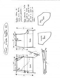 Esquema de modelagem de short simples cós médio tamanho 40.