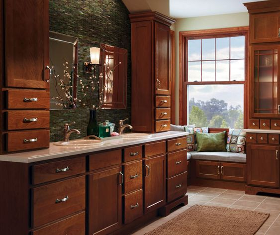 Homecrest cabinets cherry w cinnamon finish the color for Bathroom decorating ideas cherry cabinets