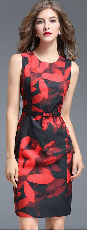 Chic O-Neck Sleeveless Print Bodycon Dress