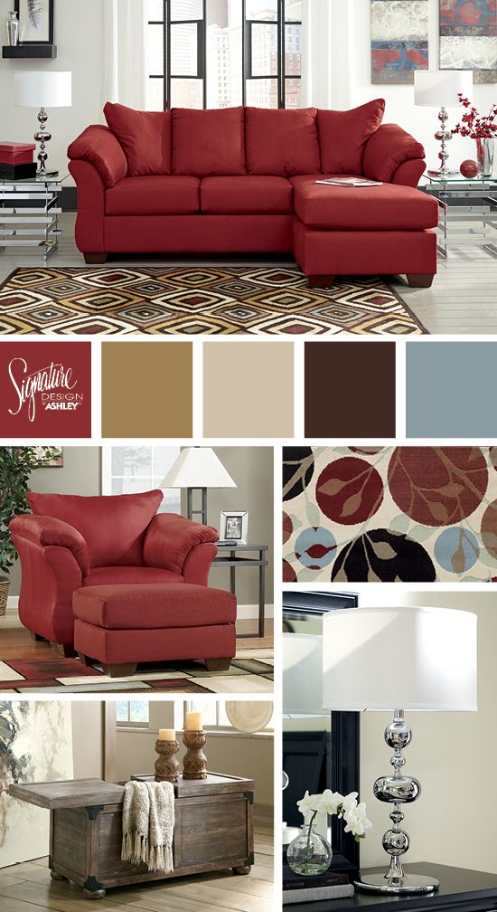Go Bold With Red Darcy Salsa Sofa Chaise Ashley Furniture Living Room Red Ashley Furniture Living Room French Furniture Sofa
