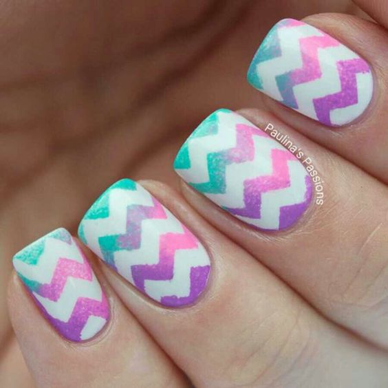 Ombre Nails purple and turquoise
