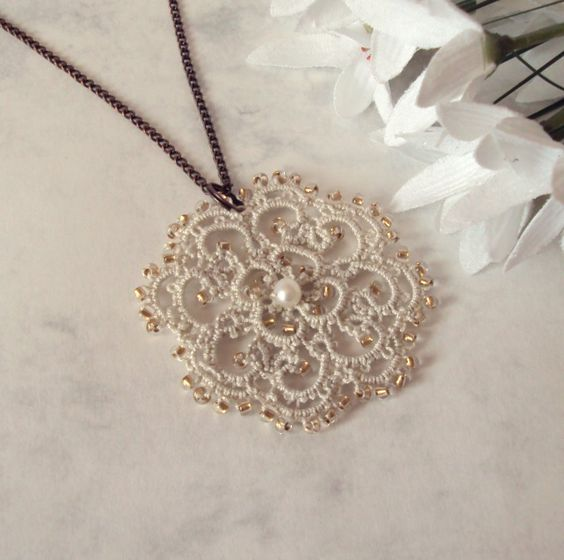 Victorian Inspired Lace Pendant in Tatting - Rosetta. $25.00, via Etsy.