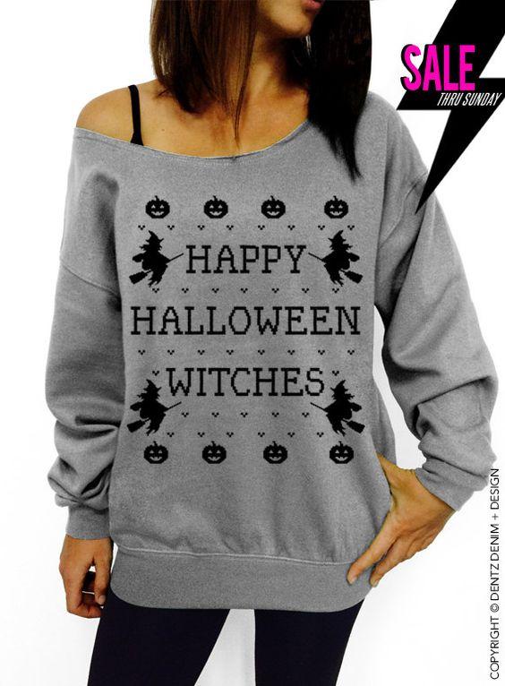 halloween shirt happy halloween witches gray slouchy oversized sweatshirt by dentzdenim