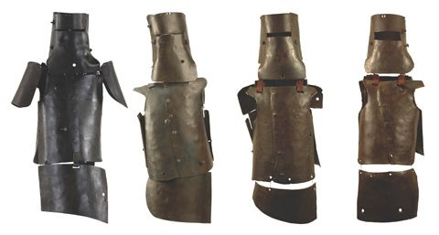Armour worn by the Kelly gang. Left to right: Ned Kelly, 1879; Joseph Byrne, 1879; Dan Kelly, 1879; Steve Hart, 1879.