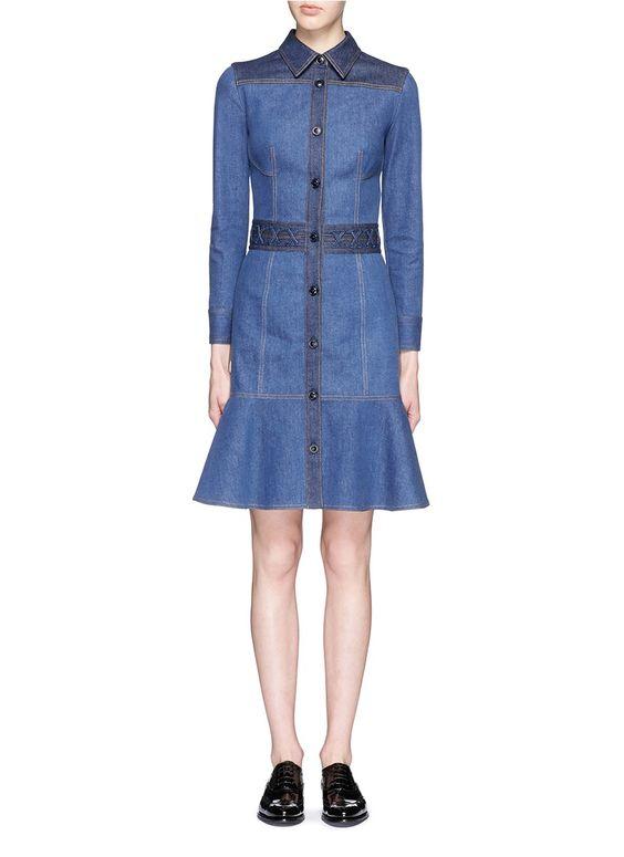 ALEXANDER MCQUEEN Peplum Hem Denim Shirt Dress. #alexandermcqueen #cloth #dress