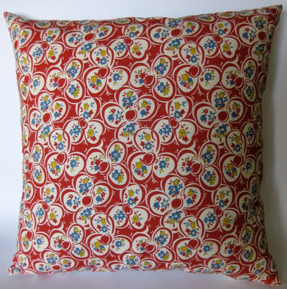 Red Floral Pillow Cover 18 X 18 by mrsmateerdesign on Etsy, $15.00