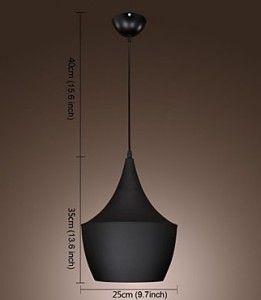 60W 1 Light Pendant in Black Shade