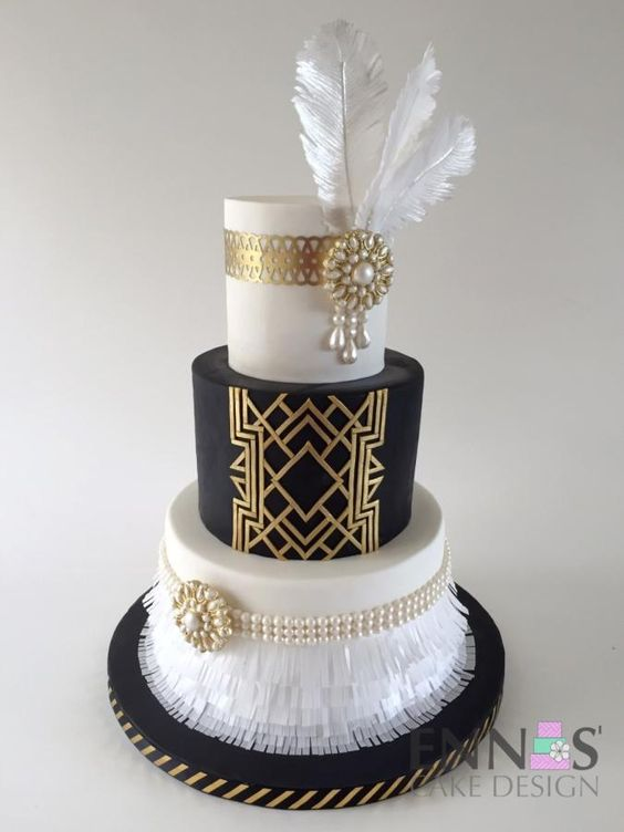 Have ostrich feathers at the top of the cake (with the number 60 and an art deco design) like this.