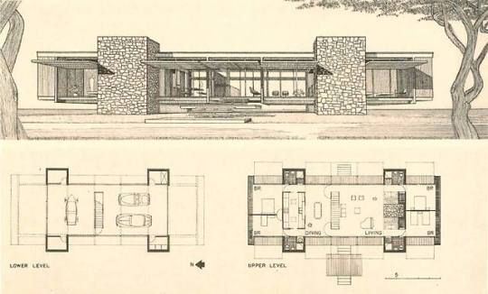 Pin By Undignified Response On Architecture Mid Century Modern House Plans Vintage House Plans Architectural Floor Plans