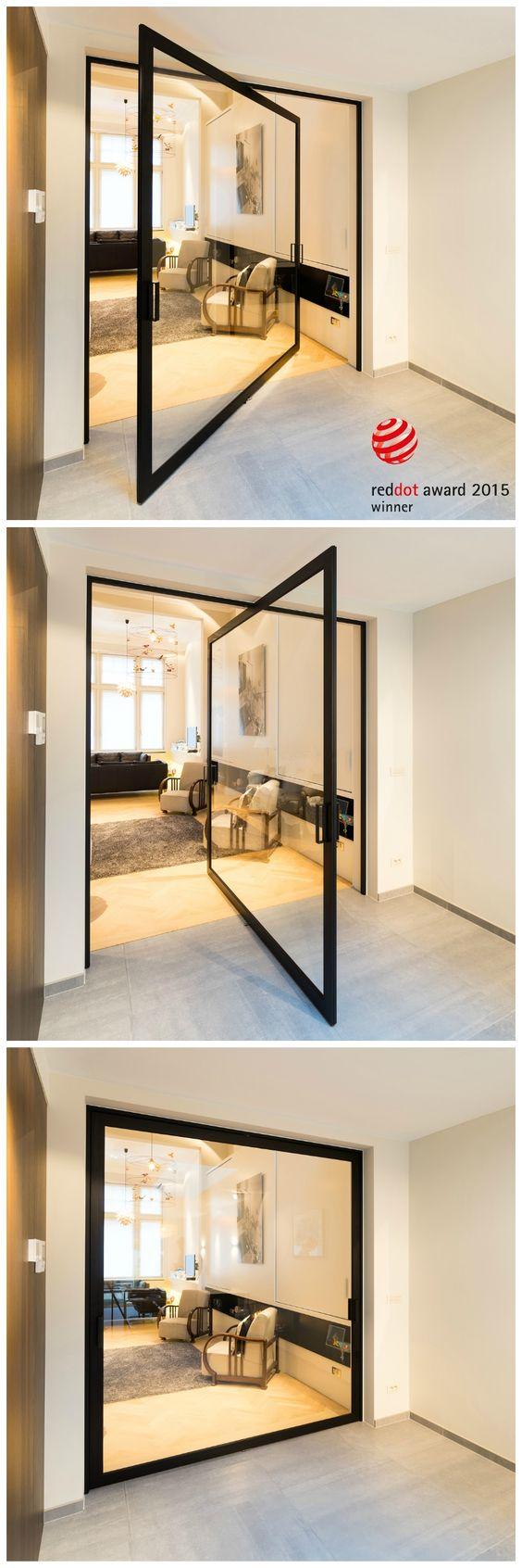porte en verre sur pivot moderne portes vitr es. Black Bedroom Furniture Sets. Home Design Ideas