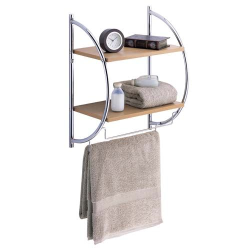 wall mount two tier wood shelves with towel bars get. Black Bedroom Furniture Sets. Home Design Ideas
