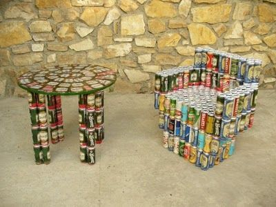 made completely out of beer cans