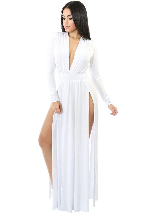 Robes Jersey Maxi Blanc Super Chic Manches Longue Double Fendu MB61282-1 –…