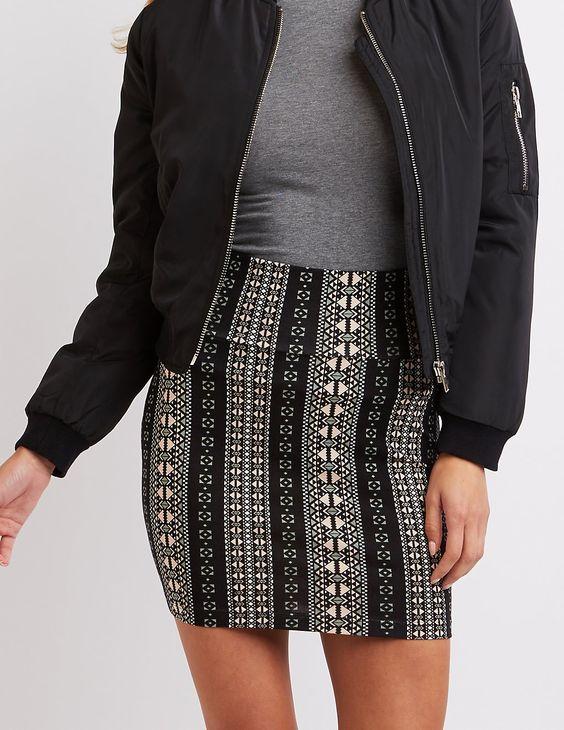 Printed Bodycon Mini Skirt | Charlotte Russe