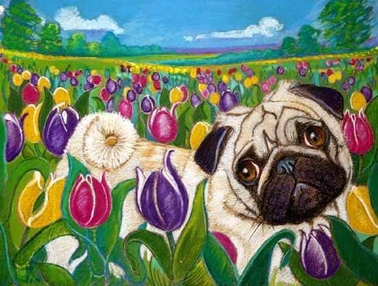Tulip The Pug In Tulips Pugs Painting Art