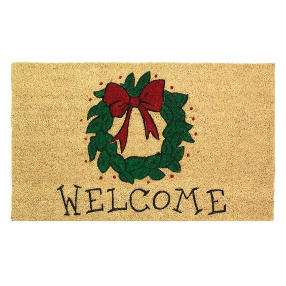 Welcome Wreath Entry Way Doormat