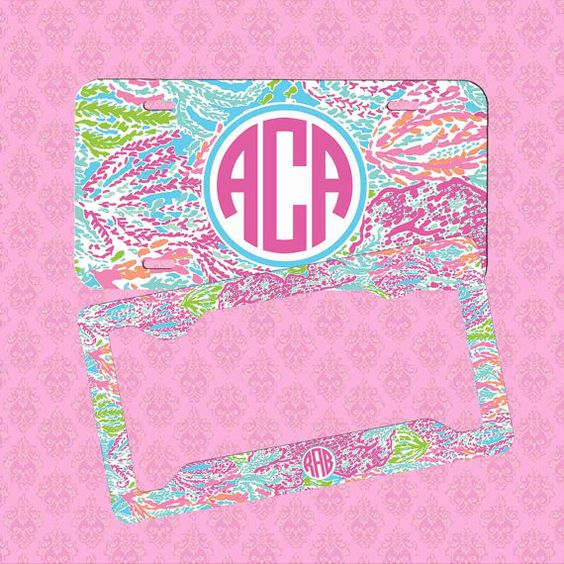 Custom License Plate Frame  Monogram Lilly by pinkblossomdesign