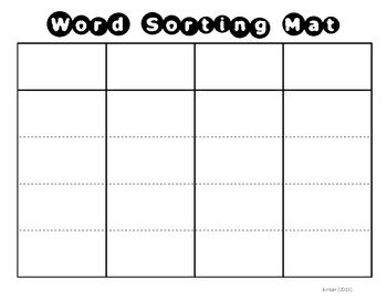 Deck Of Card Sort Template By Word Sorting Mat Student The Words