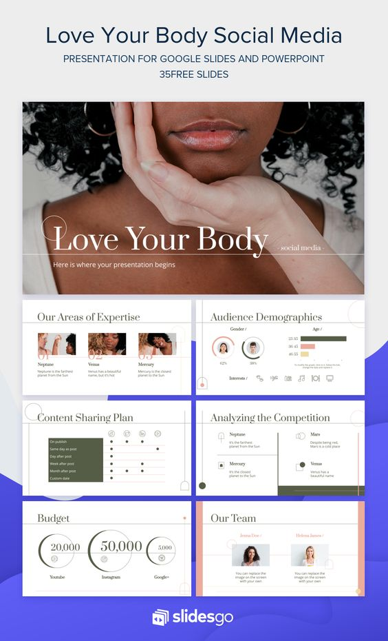 Download And Edit This Free Google Slides Theme And Ppt Template And Be An Inspiration For Your Female Audience In Soc Presentation Social Media Pptx Templates