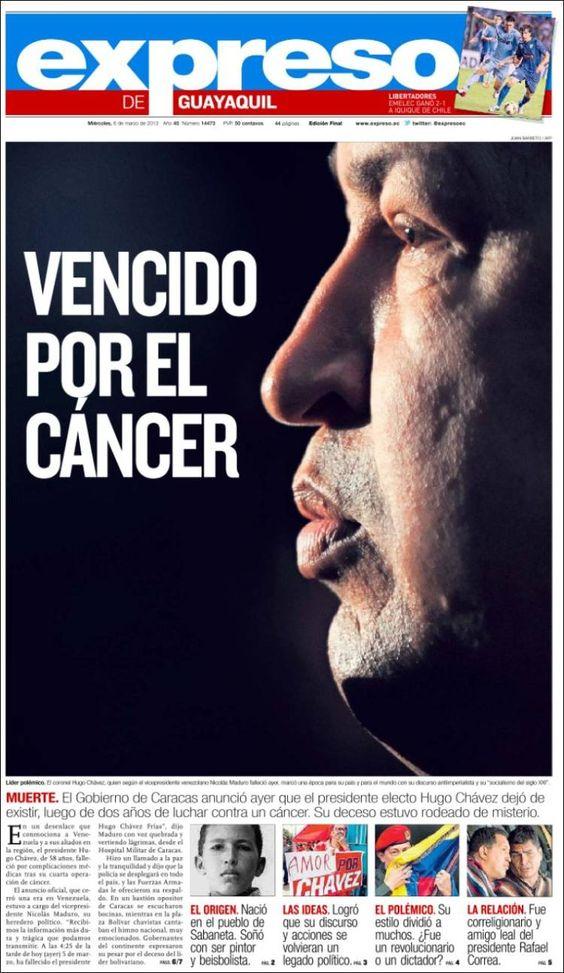 ESPECIAL PORTADAS DEL MUNDO DEL 6 DE MARZO 2013: FALLECE HUGO CHÁVEZ