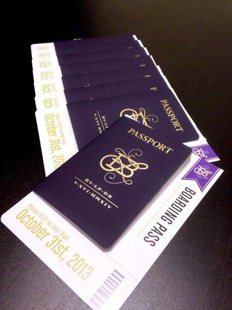 Destination Wedding Passport Invitations and Boarding Pass RSVP – Passport Wedding Invites