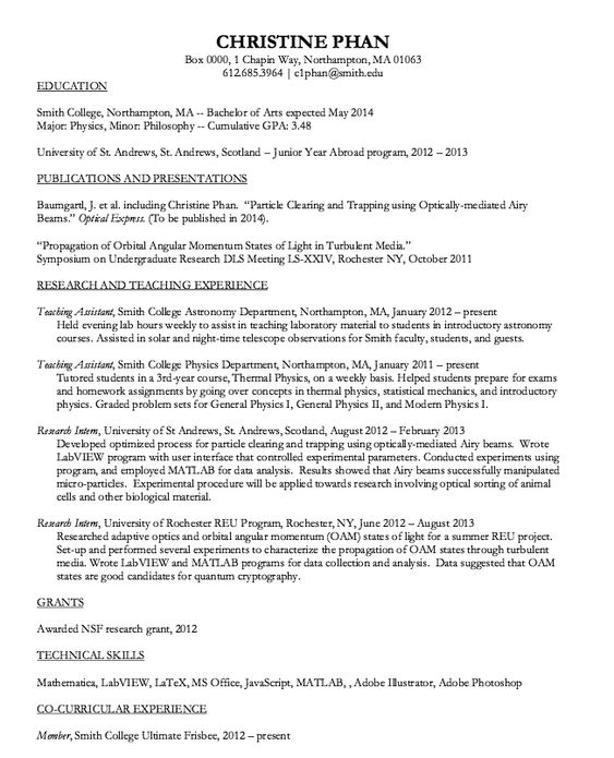 Astronomy Teacher Assistant Resume Sample - http\/\/resumesdesign - concierge resume