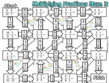 Multiplying Fractions Maze Activity Kesirler 5 Sinif