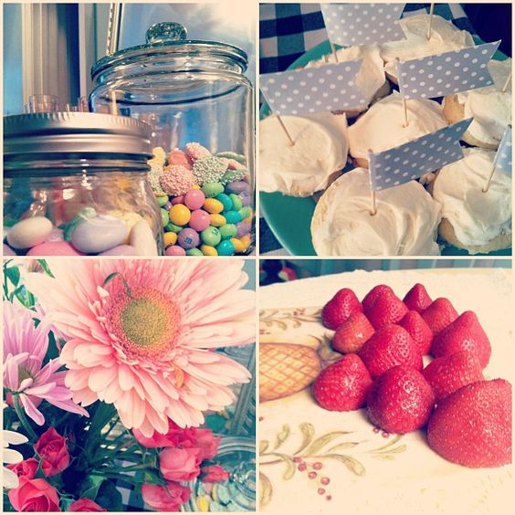 Have a tea party: pink flowers, mason jars of candy, fresh cut strawberries and mimosa, cupcakes with pretty flags. #partyfavors
