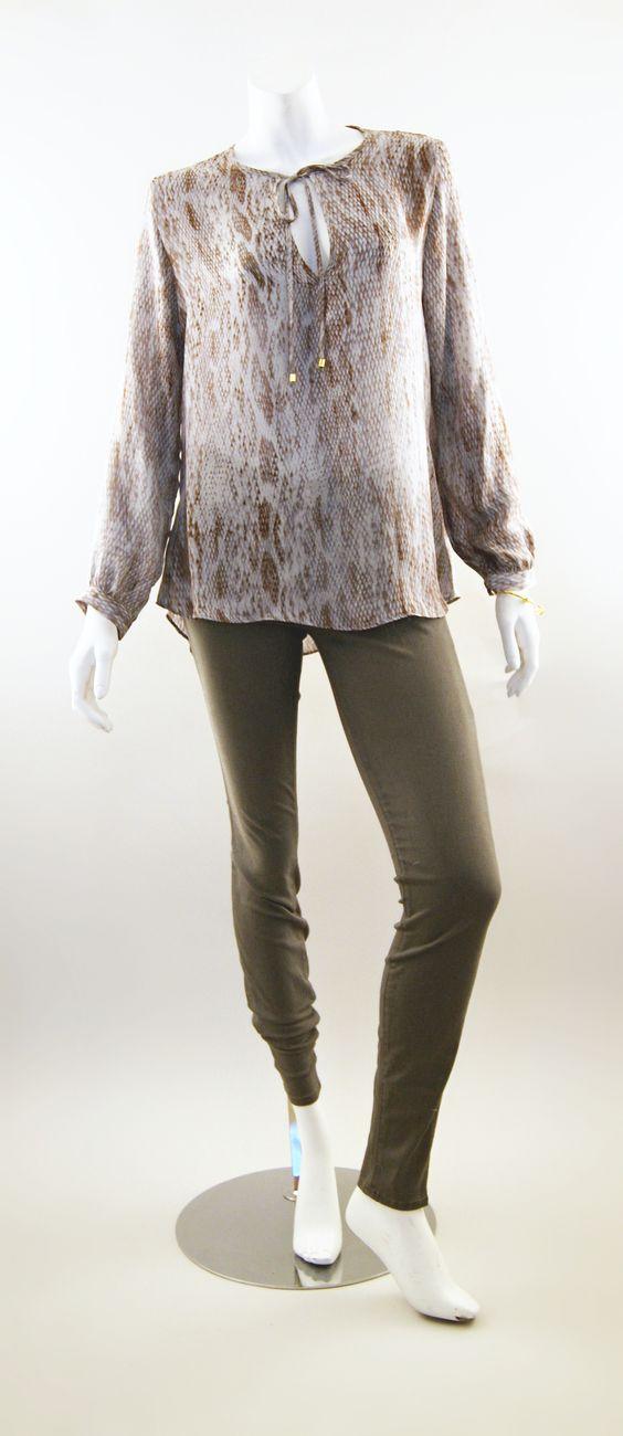 Karina Grimaldi Sasha Print Tunic and J Brand Super Skinny Jeans