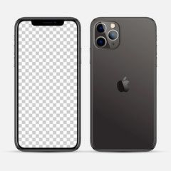 Moscow Russia October 19 2019 New Iphone 11 Pro Max Black Color By Apple Inc Mock Up Screen Phone And Back Side Vector Illus Iphone New Iphone Iphone 11
