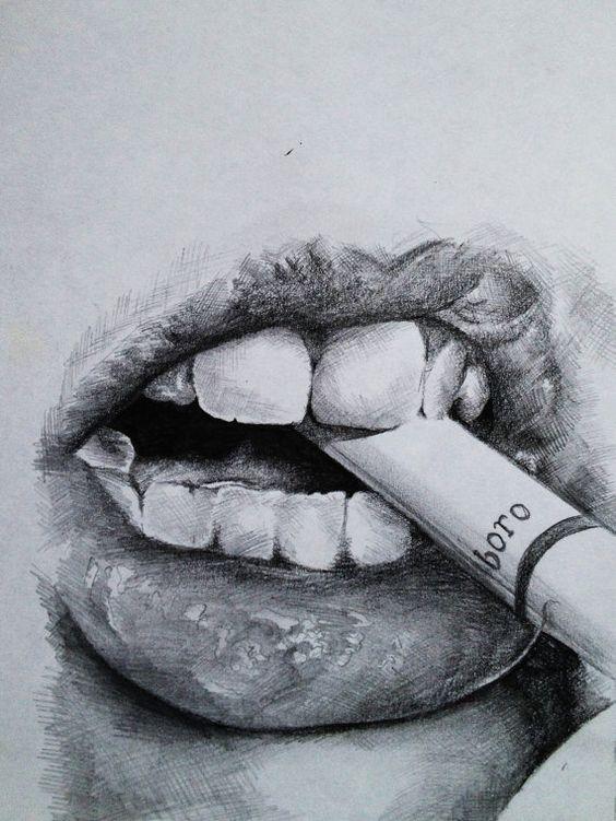 how to draw lip bite