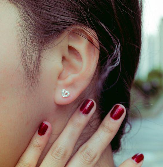 heart earrings heart ear stud small heart earrings by karlasdesign, $12.00