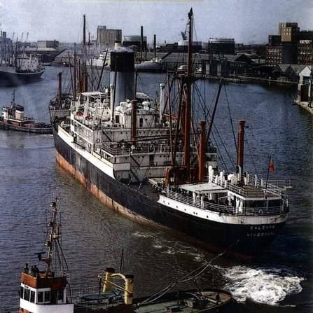 """MV Calchas, an """"A"""" ship built by Harland & Wolff, Belfast for Blue Funnel Lines & launched '47. Used as a training ship her crew was 22 midshipmen and 14 engineer cadets. Moved to Glen Lines in '57 & renamed MV Glenfinlas. Returned to Blue Funnel  as MV Calchas. In Dec.'71 transferred to Elder Dempster Line & renamed MV Akasombo. Returned to Blue Funnel & caught fire in Port Kelang, Malaysia on 22/07/73. A total write off she was towed to Singapore for scrapping in Nov.'73"""