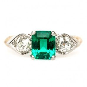 vintage emerald diamond edwardian engagement ring