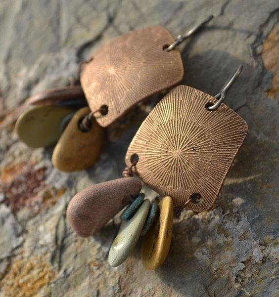 handmade bronze clay earrings with tiny pebbles