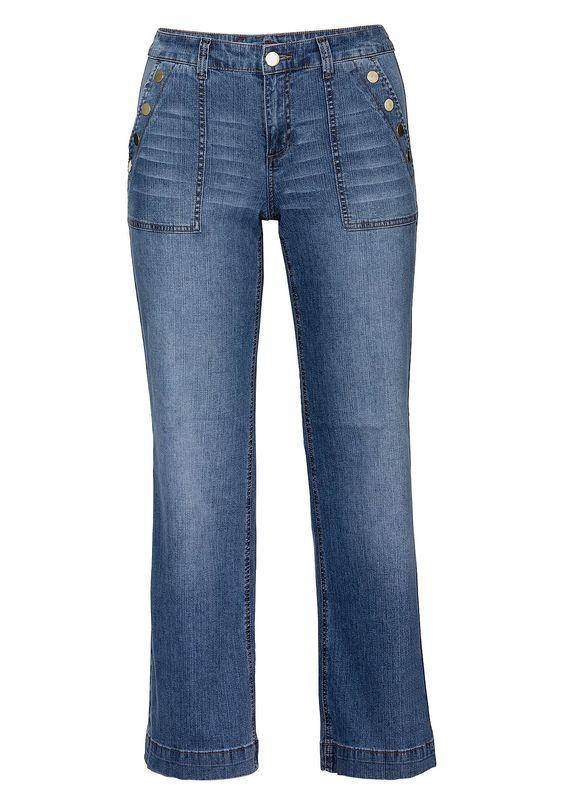 Schlag Stretch-Jeans mit Zierknöpfen