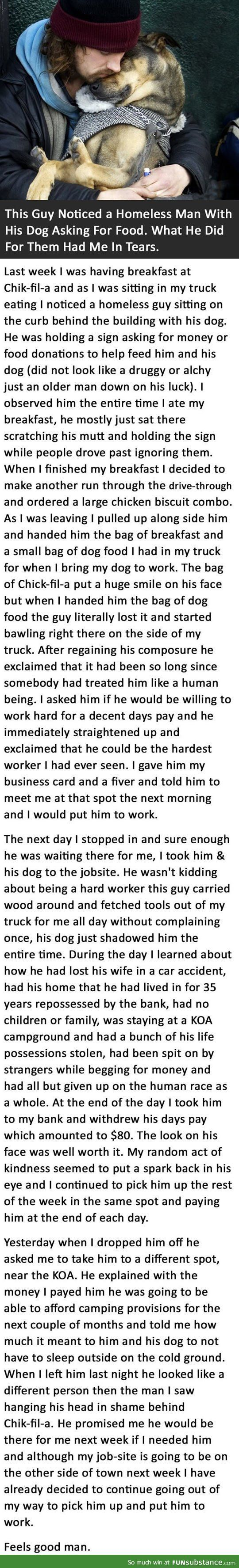 Guy notices a homeless man with his dog